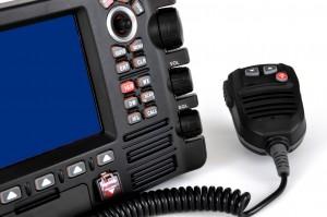 3d view of chart plotter vhf marine radio with speaker microphone